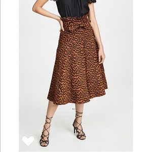 NWOT Ulla Johnson Esther Tiger Print Midi Skirt